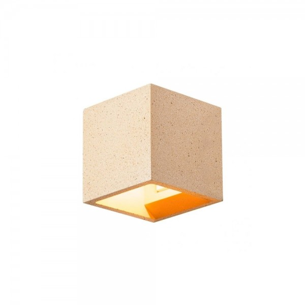 SLV 1000912 Yellow Sandstone Solid Cube QT14 Wall Light