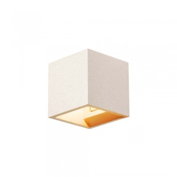 SLV 1000913 White Sandstone Solid Cube QT14 Wall Light