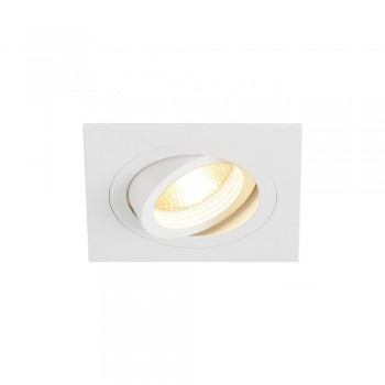 SLV 113511 Matt White New Tria GU10 Square Recessed Light with Clip Springs