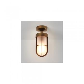 Astro 1368012 Cabin Frosted Semi Flush in Antique Brass