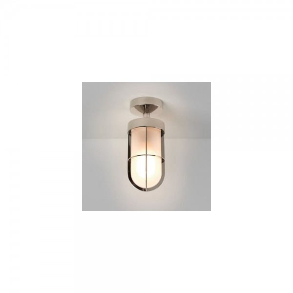 Astro 1368010 Semi-Flush Frosted Exterior Ceiling Light in Polished Nickel