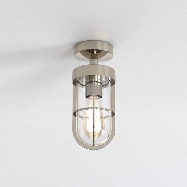Astro 1368001 Cabin Semi Flush Exterior Ceiling Light in Polished Nickel
