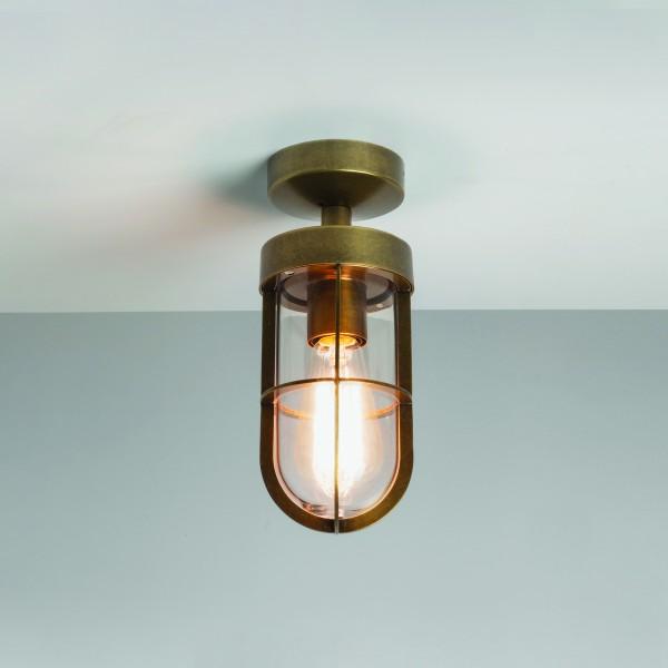 Astro 1368002 Cabin Semi Flush Ceiling Light in Antique Brass