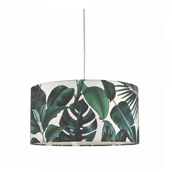 Dar Lighting FIL6524 Filip Easy Fit Pendant Green Leaf Print