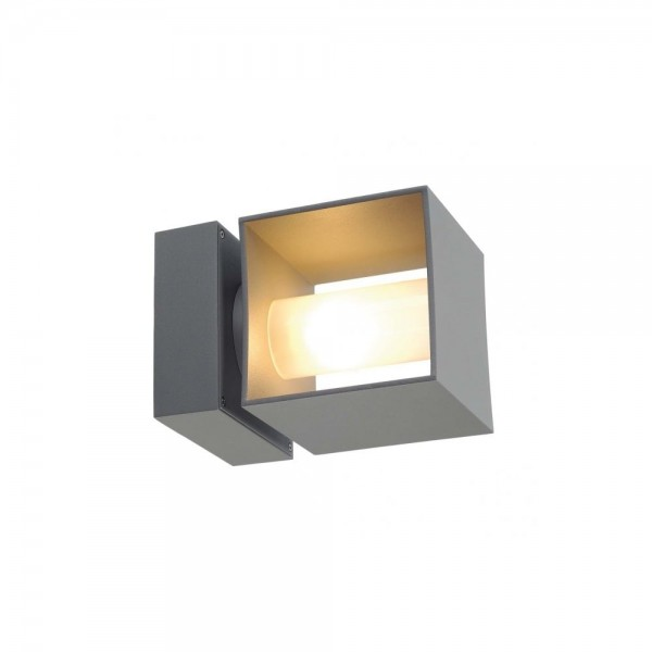 SLV 1000335 Silver-Grey Square Turn QT14 Outdoor Wall Light