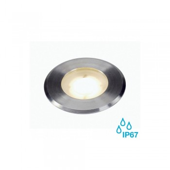 SLV 228412 Stainless Steel Brushed Dasar Flat 80 4.3W 3000K LED Outdoor Ground Light