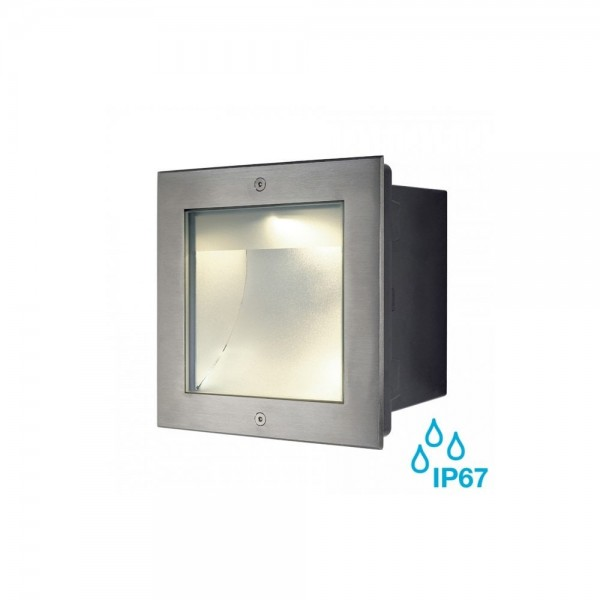 SLV 229383 Stainless Steel Square Dasar 255 3000K 34W LED Outdoor Recessed Ground Light