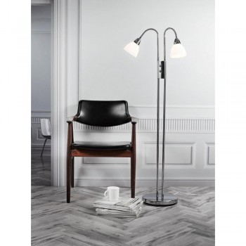 Nordlux 72224033 RAY Dimmable Chrome/Opal Glass Double Floor Lamp
