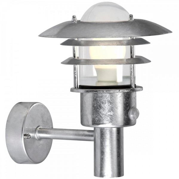 Nordlux 71432031 Lønstrup 22 Galvanized Steel Garden Wall Light with Sensor