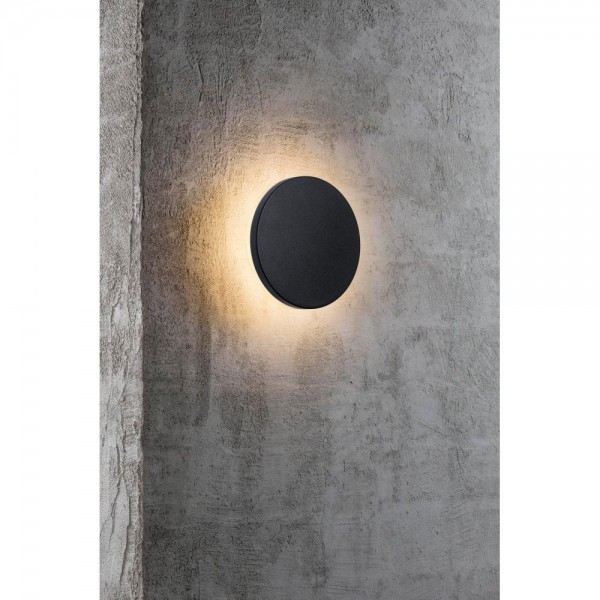 Nordlux Flint Round 46941003 Black/Opal White Outdoor Wall Light