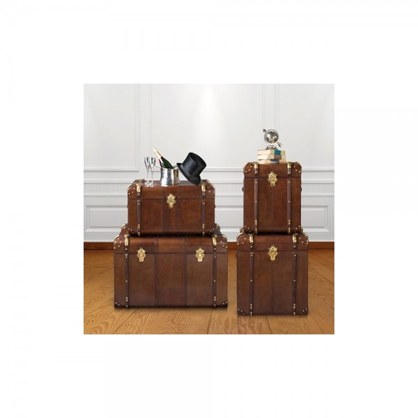 Culinary Concepts CC-987A-SML-CIGAR Small Havana Leather Side Trunk