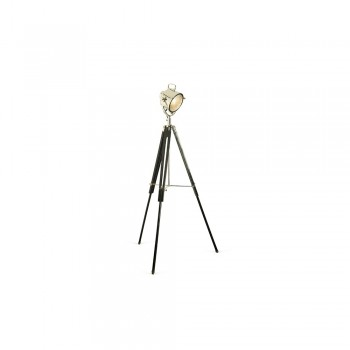 Culinary Concepts CC-2436-BN Nickel Spotlight Floor Lamp with Black Wooden Tripod