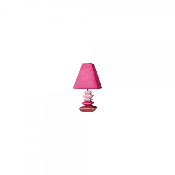 Searchlight 1420PI Stepped Pink Ceramic Table Lamp with Shade (Pair)