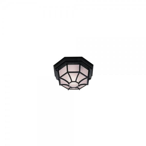 Searchlight 2942BK Black Flush Hexagonal Outdoor Ceiling Light
