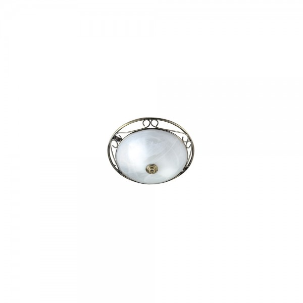 Searchlight 6436 Flush Antique Brass Ceiling Light with Glass Diffuser