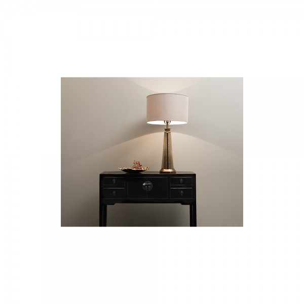 Libra 067010 Small Regal Glass Table Lamp with Bleach Linen Shade
