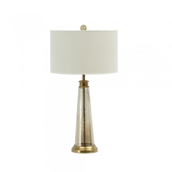 Libra 337532 Regal Antique Brass and Glass Table Lamp With Linen Shade