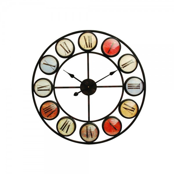 Libra 137747 Smarty Iron Clock Roman Numerals Coloured Domed Glass